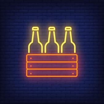 Icône de néon de boîte avec des bouteilles