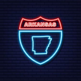 Icône de néon de carte d'état de l'arkansas. illustration vectorielle.