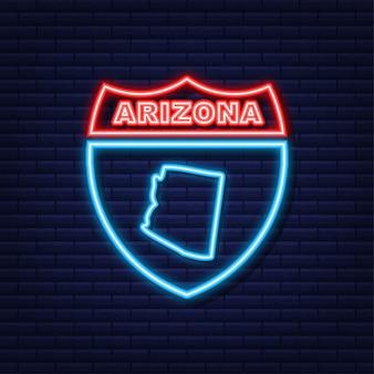 Icône de néon de carte d'état fédéral de l'arizona usa. illustration vectorielle.