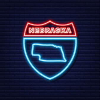 Icône de néon de carte d'état fédéral du nebraska usa. illustration vectorielle.