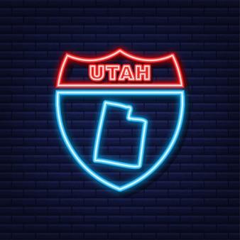 Icône de néon de carte d'état de l'utah. illustration vectorielle.