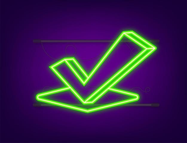 Icône néon coche. autocollant approuvé rouge sur fond blanc. illustration vectorielle de stock.