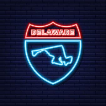 Icône de néon de contour de carte d'état du delaware. illustration vectorielle.