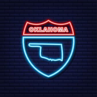 Icône de néon de contour de carte d'état de l'oklahoma. illustration vectorielle.