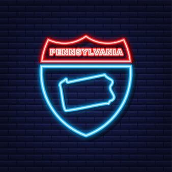 Icône de néon de contour de carte d'état de pennsylvanie. illustration vectorielle.