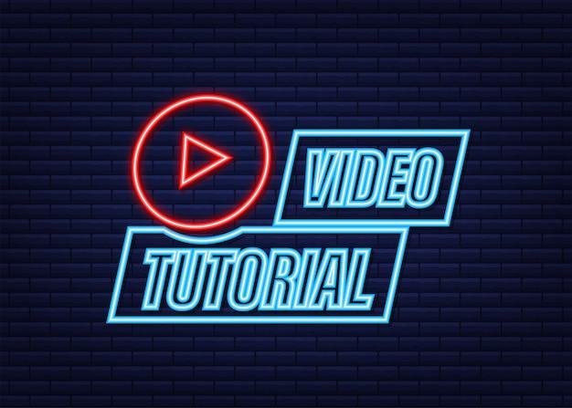 Icône néon de didacticiels vidéo. contexte d'étude et d'apprentissage, enseignement à distance et croissance des connaissances. illustration vectorielle.