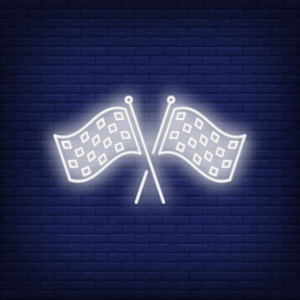 Icône de néon de drapeaux de course