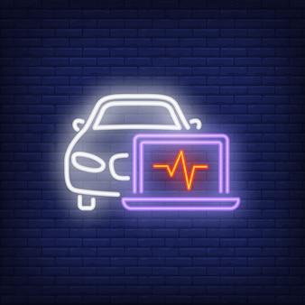 Icône néon du diagnostic de voiture