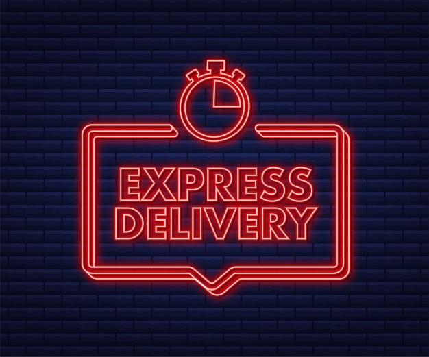 Icône néon du service de livraison express commande de livraison rapide avec chronomètre