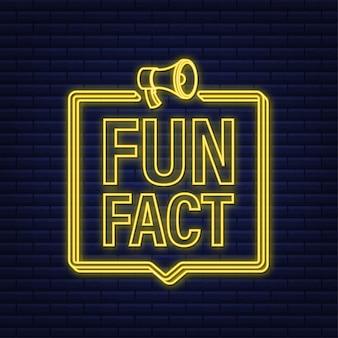 Icône néon de fait amusant sur fond sombre. illustration vectorielle de stock.