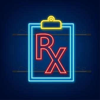 Icône néon formulaire de prescription rx vierge. illustration vectorielle de stock.