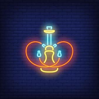 Icône néon de narguilé avec deux tuyaux en forme de coeur