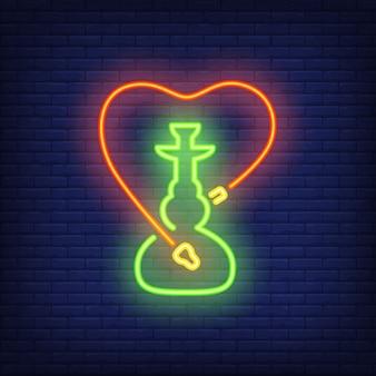 Icône néon de narguilé avec tuyau en forme de coeur
