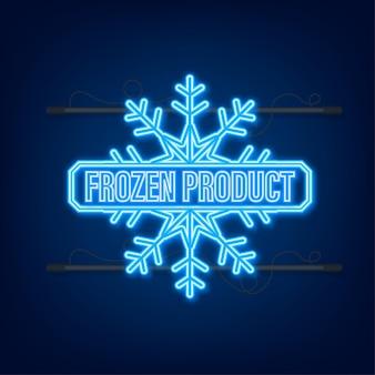 Icône de néon de produit congelé bleu sur fond bleu.
