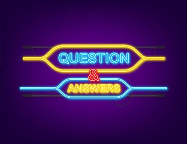 Icône néon question et réponse bubble chat.