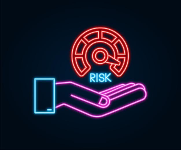 Icône néon de risque sur le compteur de vitesse dans les mains. compteur à haut risque. illustration vectorielle de stock.