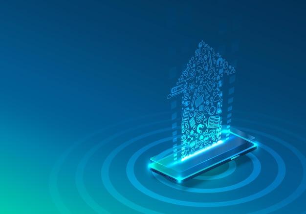 Icône de néon de téléphone à écran beaucoup plus moderne. fond bleu.
