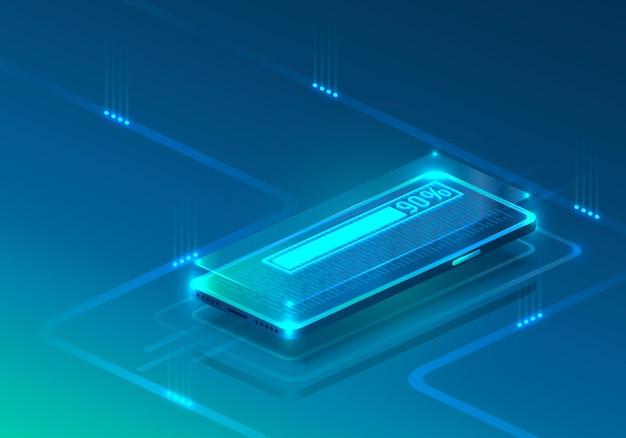 Icône néon de téléphone écran chargement moderne. fond bleu.