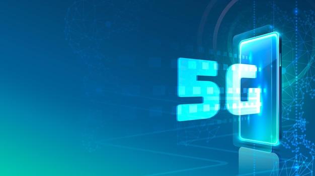 Icône néon téléphone écran réseau 5g moderne. fond bleu.