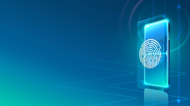 Icône néon de téléphone écran scanner moderne. fond bleu.