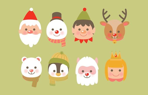 Icône de noël avec renne, père noël, boule de neige, mouton et aide du père noël