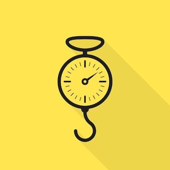 Icône noire à l'échelle du printemps avec ombre portée. concept d'indicateur, vue de face, gramme, tension, jauge, machine en acier, gravité, mécanisme en spirale. conception graphique de logo moderne de style plat sur fond jaune