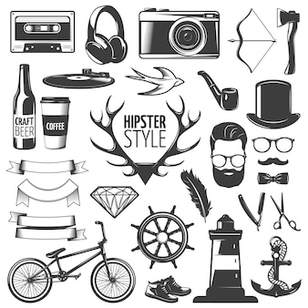 Icône noire isolée hipster sertie d'équipement et d'outils pour l'illustration vectorielle de création style