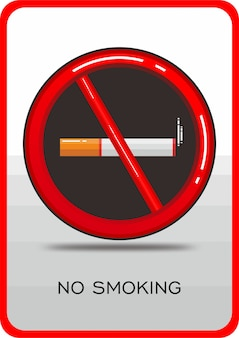 Icône non fumeur symbole rouge plat