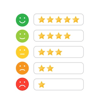Icône de notation d'étoiles pour le site web et les applications mobiles émotion de la notation des commentaires évaluation de la satisfaction du client