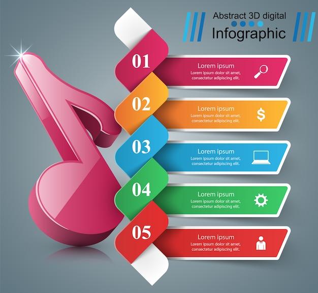 Icône de note 3d. musique infographique.