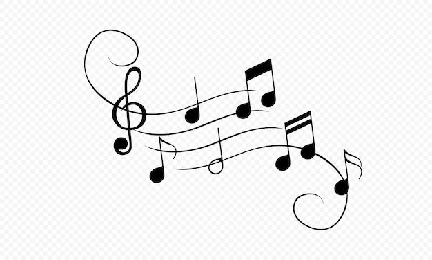 Icône de notes de musique ornementale en noir. du son. vecteur sur fond blanc isolé. eps 10.