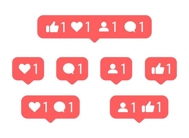 Icône de notification des médias sociaux. comme, pouce levé, commentaire, suiveur.
