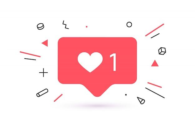 Icône de notifications comme, bulle de dialogue. comme icône avec coeur