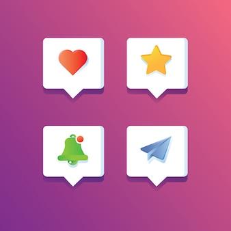 Icône de notifications de médias sociaux