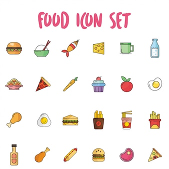 Icône de nourriture définie dans le style de contour avec une couleur pastel