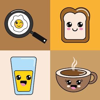 Icône de nourriture kawaii heureux
