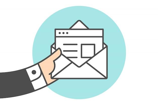 Icône d'une nouvelle enveloppe de courrier ouverte