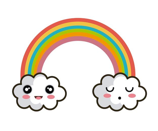 Icône nuage arc-en-ciel visages