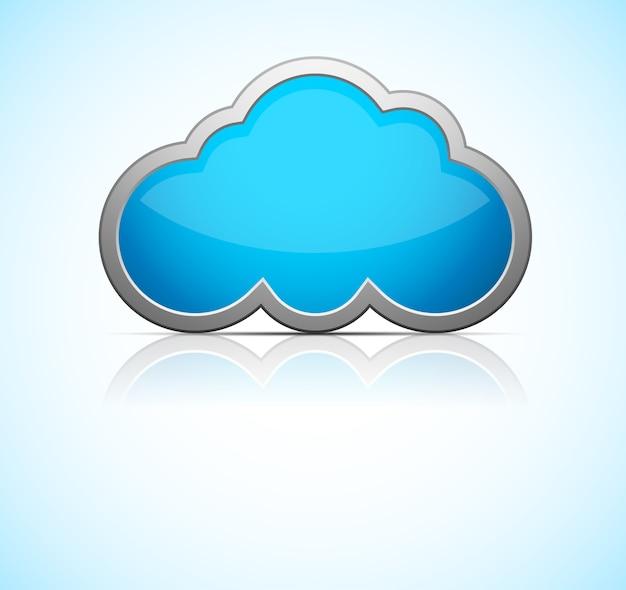 Icône de nuage bleu brillant avec réflexion. illustration