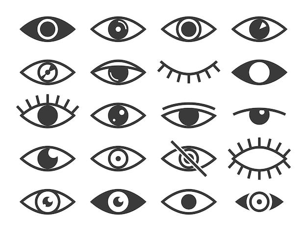 Icône de l'œil. médecine supervision santé yeux ouverts et fermés, regard et vision, sommeil. observer et lentille de globe oculaire, optique visible, ensemble de pictogrammes