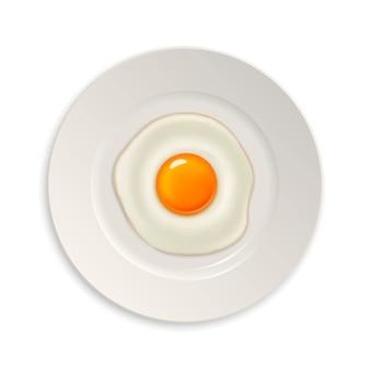 Icône d'oeuf frit réaliste sur une plaque. modèle.