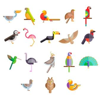 Icône d'oiseaux design plat