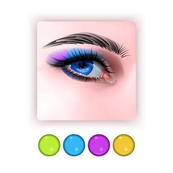 Icône de l'ombre à paupières brillante dans un style réaliste yeux réalistes avec des ombres à paupières lumineuses