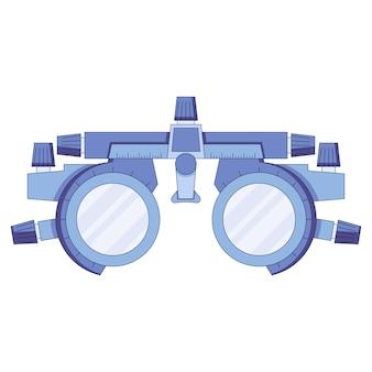 Icône d'optométriste dans une dioptrie de test de vision de cadre de test oculaire de style plat avec échelle de mesure
