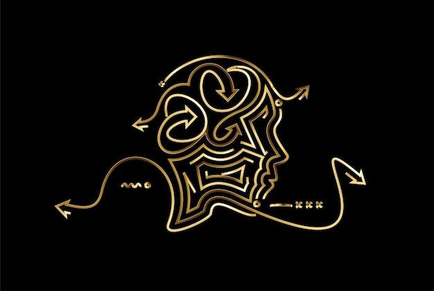 Icône d'or du visage de l'homme, illustration vectorielle.