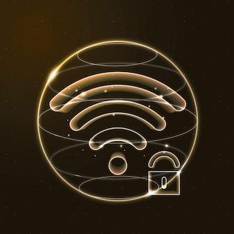 Icône d'or de technologie de communication de sécurité internet avec serrure
