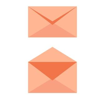 Icône orange douce d'enveloppe de courrier - ouverte et fermée. e-mail envoyer illustration vectorielle concept