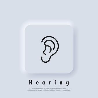 Icône de l'oreille. logo d'audition. oreille, symbole d'audition. vecteur. icône de l'interface utilisateur. bouton web de l'interface utilisateur blanc neumorphic ui ux. neumorphisme