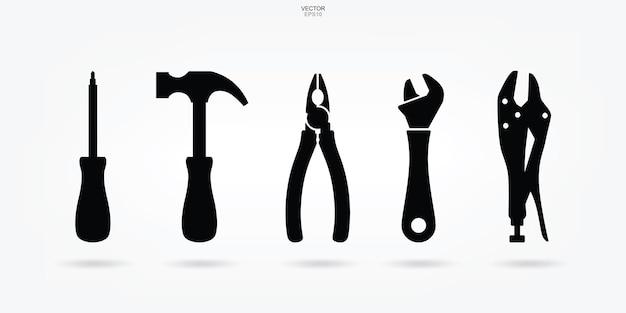 Icône d'outil d'artisan. signe et symbole d'outil de technicien. illustration vectorielle.
