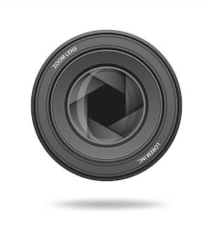 Icône d'ouverture. rangée du diaphragme de l'objectif d'obturation de l'appareil photo. illustration.